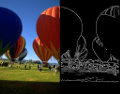 image of hot air ballons next to edge detection result